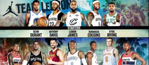Team Lebron is going to look a bit different when the All Star game actually happens. [Image via NBA / YouTube Screencap]