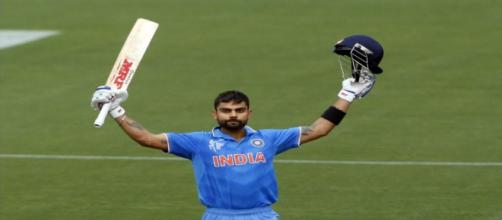 Virat Kohli after hitting a century (Image via BCCI.Tv)