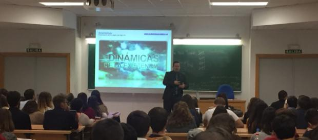 Lecturing on Scientology at the University of Seville, Spain