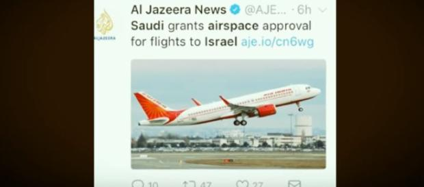 Saudi Arabia has opened its airspace to Israel Image credit - @AJE - Twitter