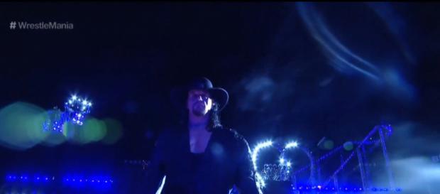 Undertaker making his Wrestlemania 33 entranced. Hopefully it was his last. [WWE/YouTube screen cap]