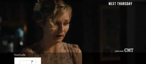"Scarlett (Clare Bowen) asks a question that sparks a return to song for a war veteran on ""Nashville.[Image via TVpromos/YouTube screencap]"