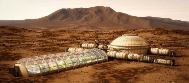 A group of volunteers rehearses in the desert to live on Mars