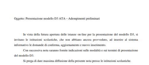 Nota Miur per la presentazione del modello D3 di terza fascia Ata.