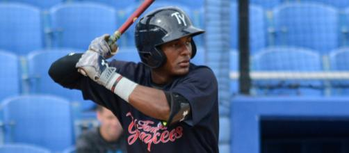 Tampa's Miguel Andujar bats during Florida State League play August 30, 2015. (photo credit to Buck Davidson/Flickr)