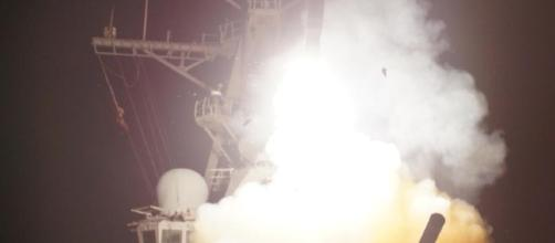 A Tomahawk missile is fired from a Navy warship (Photo via AFRICOM - Flickr)