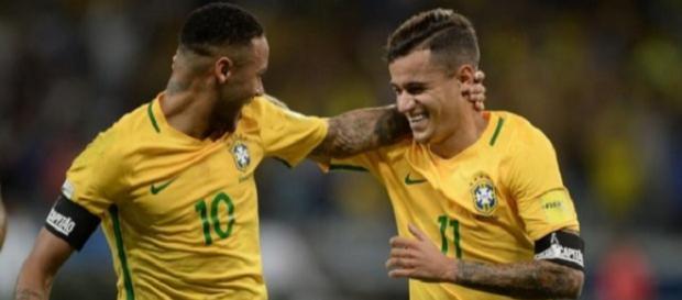 Neymar e Coutinho são colegas de seleção