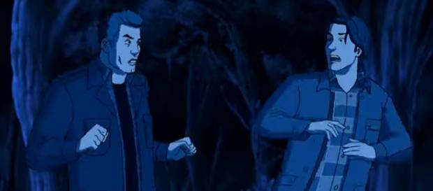 Sam and Dean surprised to see themselves becoming a cartoon. [Image via TV Promos/YouTube screencap]