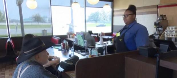 Waitress gets rewarded with a college scholarship fund. [KHOU 11/YouTube screencap]