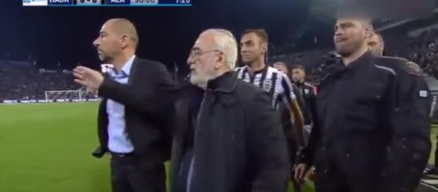 PAOK President enters the field with a gun, after referee cancels a goal for his team - image source - Bruno S. | YouTube