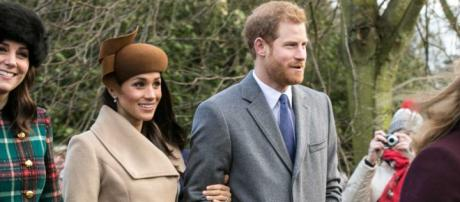 Meghan Markle and Prince Harry on Christmas Day 2017. Found on Wikimedia Commons by Mark Jones