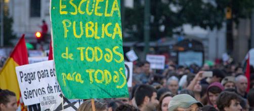 Manifestación contra los recortes en Educación; Carlos Delgado