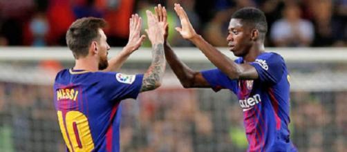 Messi e Dembelé jogam juntos no Barcelona