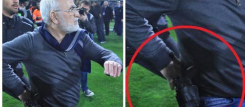 Un président arme à la main, du jamais vu ! (source: montage Twitter)
