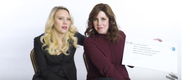 Vanessa Bayer answers web-searched questions with Kate McKinnon. - [Image source: Wired / YouTube screenshot)