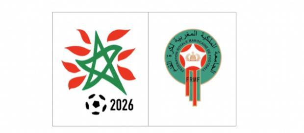 Le logo du Maroc pour la coupe du monde 2026, au côté de l'emblème de l'équipe nationale marocaine