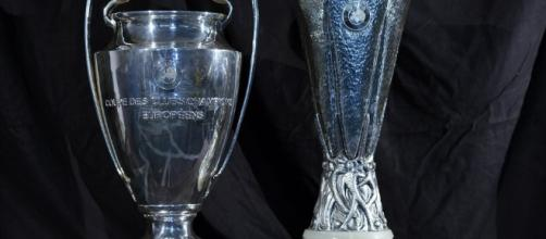 Le coppe della Champions League e dell'Europa League - spaziocalcio.it