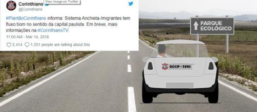 Postagem feita pelo Corinthians provocou o rival