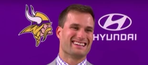 Kirk Cousins all smiles at introductory press conference Wednesday. [image Credit: NFL Network/YouTube screenshot]