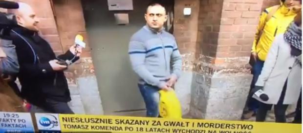 Niesłusznie skazany za gwałt i morderstwo zignorował dziennikarzy TVN24.