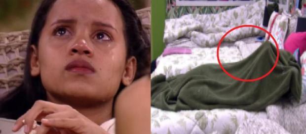 Reviravolta no BBB: mudança deixa Gleici desesperada, que chora no edredom. (foto reprodução).