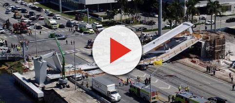 Miami pedestrian bridge collapses, killing four people, crushing ( image credit CBS-Youtube.com)