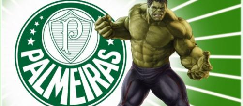 Poster do Palmeiras e cartaz de Hulk