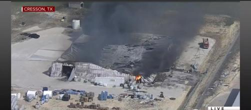 The firefighters have left the fire burn out by itself. [image source: YouTube/CBS News