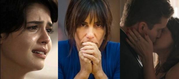 Adriana, Beth e Patrick e Clara se beijando em 'O Outro Lado do Paraíso'.
