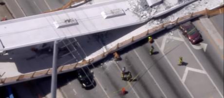 FIU bridge collapses killing four people. [image source: youtube/ABC News]