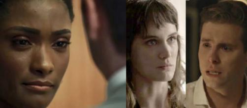 Raquel passa a rasteira em Bruno e pede que Clara se separe de Patrick