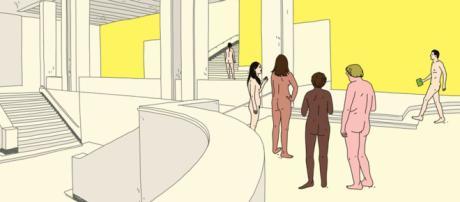Cartaz de exposição deixa clara a obrigatoriedade da nudez para a visitação da mesma. Foto: Reprodução.