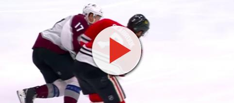 Brent Seabrook defends against Tyson Jost in a Colorado Avalanche victory. [image source: PRO Hockey/ YouTube screenshot]
