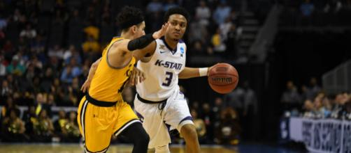 KSU's Kamau Stokes drives on UMBC point guard K.J. Maura (via @KStateMBB