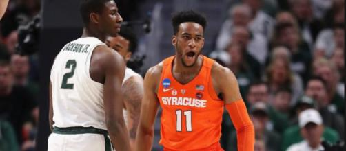 Syracuse is off to the Sweet 16 after upsetting Michigan State. [Image Credit: NCAA March Madness/YouTube]