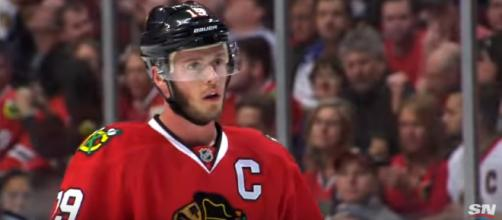 Toews clinched another 20-goal season this year. [imagesource: SPORTSNET /YouTube screenshot]