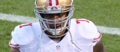 Jonathan Martin, here with the 49ers, has been charged with criminal threats. - [Courtesy Wikimedia Commons, Photographer: Jeffrey Beall]