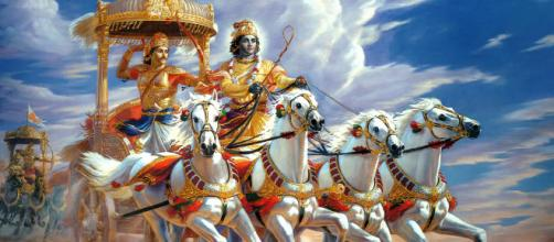 Arjun and Krishna in Kurukshetra battlefield, (Image via Infiniteys/Flickr)
