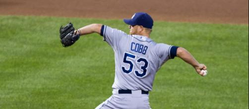 Alex Cobb pitching -- Wikimedia Commons