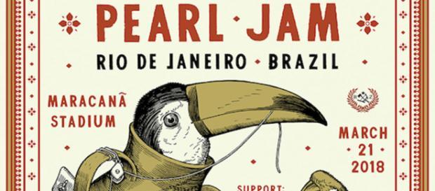 Cartaz traz aves brasileiras armadas ao lado de favela (Reprodução/Facebook/Pearl Jam Oficial)