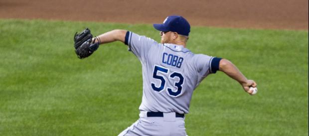 Alex Cobb pitching -- Wikimedia Commons