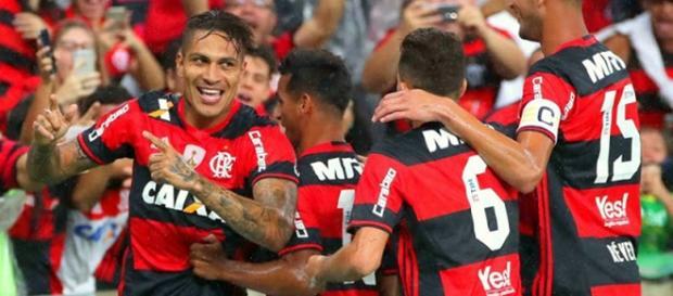 Jogadores do Flamengo em uma comemoração de gol