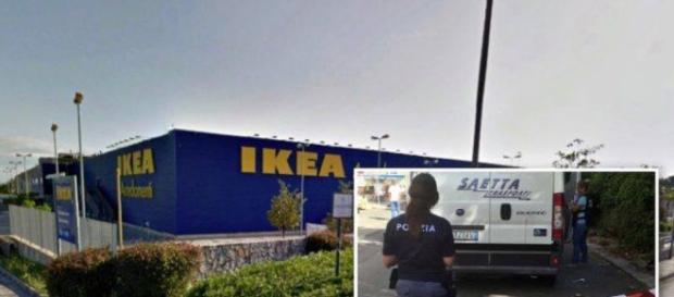 Lo stabilimento Ikea, polizia in azione e furgone portavalori.