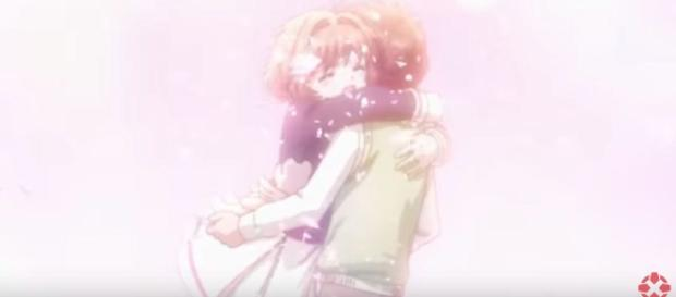 Sakura and Syaoran share a passionate embrace in 'Clear Card' -- YouTube / IGN.