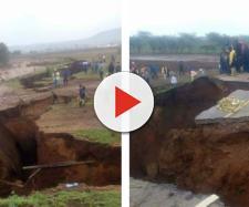 L'enorme faglia apertasi in Kenya.