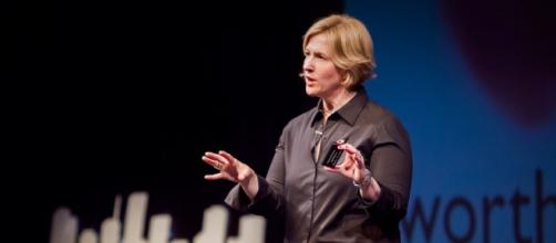 Brené Brown, a world-renown shame researcher. [Image via: Master Presenting - masterpresenting.com]