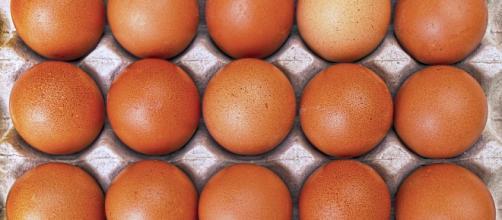 Huevos en huevera, como los que se pueden encontrar en el supermercado