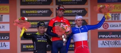 Vincenzo Nibali sul podio della Milano Sanremo