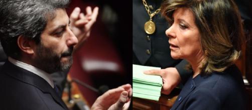 Il nuovo presidente della Camera Roberto Fico e la nuova senatrice Maria Elisabetta Alberti Casellati