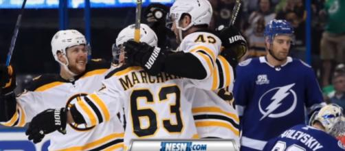The Bruins have clinched a playoff spot and now are looking for more [Image via NESN / YouTube Screencap]